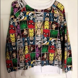Sweaters - Marvel Comic Print Sweatshirt